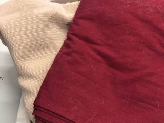 Twin flat sheets red and tan tablecloth