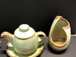 Frankoma teapot  mugs  and candle holder w dish