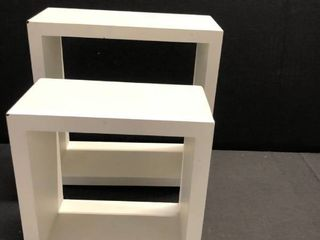 White floating storage shelves