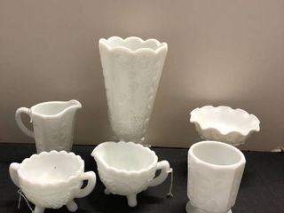 Assorted Milk glass