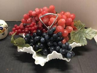 Milk glass candy dish with faux fruit