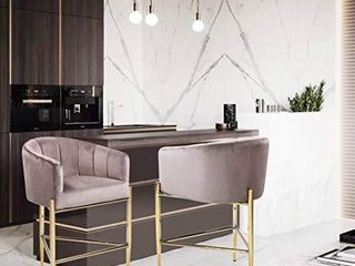 Iconic Home Cyrene Counter Stool Chair Velvet Upholstered Shelter Arm Shell Design 3 legged Gold Tone Solid Metal Base Modern Contemporary  BlUSH