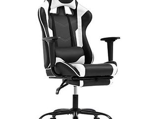 Gaming Chair Ergonomic Computer Racing Style Office Chair Adjustable High Back Gamer Chair for Home Office with Footrest Headrest lumbar Support White
