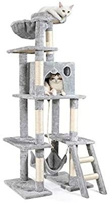 rabbitgoo Cat Tree Cat Tower 61  for Indoor Cats  Multi level Cat Condo with Hammock   Scratching Posts for large Cats Kittens  Tall Cat Climbing Stand with Plush Perch   Toys for Play Rest Missing play toy
