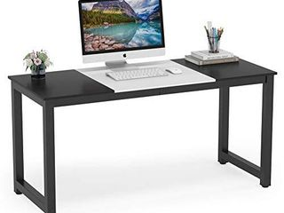 Tribesigns Computer Desk  55 inch large Office Desk Computer Table Study Writing Desk for Home Office  Black White