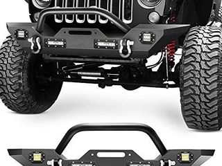 Nilight Front Bumper Compatible for 07 18 Jeep Wrangler JK   Unlimited Rock Crawler Bumper with 4 x lED lights  Winch Plate and 2 x D Rings Upgraded Textured Black 2 Years Warranty  middle  JK 51A Retail Price  329 99