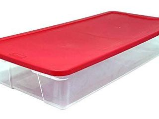 HOMZ Holiday Plastic Storage Container  41 Quart   34 375  x 15 5  x 6  Red  2 Count