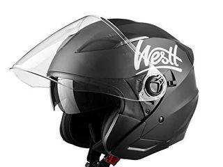 Westt Rover Motorcycle Helmet   Open Face Moped Helmet Retro Style for Motorcycle Scooter Harley with Sun Visor   3 4 Helmet ECE Certified  Jet Black