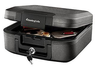 SentrySafe CHW20221 Fireproof Box and Waterproof Box with Key lock 0 28 Cubic Feet  Charcoal Gray