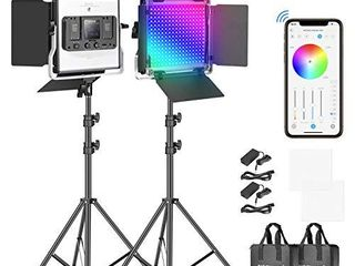 1 Neewer RGB led Video light with APP Control  360AFull Color  50W 660 PRO Video lighting Kit CRI 97  for Gaming  Streaming  Zoom Youtube  Webex  Broadcasting  Web Conference  Photography