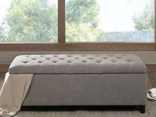 Selah Tufted Top Storage Bench   Gray