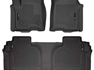 Husky liners   94031 Fits 2019 20 Chevrolet Silverado 1500 Double Cab  2019 20 GMC Sierra 1500 Double Cab   New Body Weatherbeater Front   2nd Seat Floor Mats Black