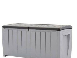 Keter Novel Outdoor Plastic Deck Box  All Weather Resin Storage  90 Gal  Black