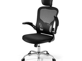 Adjustable Office Chair Ergonomic Mesh Chair High Back Computer Desk Chair with Flip up Armrest and Adjustable Headrest
