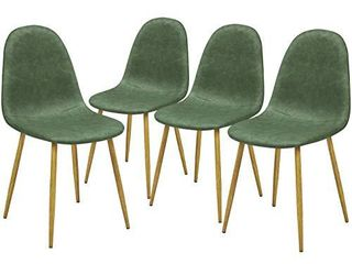 GreenForest Dining Chairs Set of 4  Anti Dirty PU leather Side Chairs Mid Century Modern Kitchen Room Chairs Upholstered with Sturdy Wood look Metal legs  Cactus Green