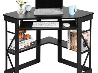 VECElO Corner Computer Writing Table with Smooth Keyboard Tray   Storage Shelves  Compact Home Office Desks Black