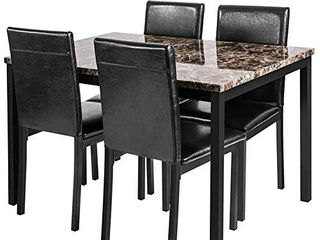 JUST THE 4 CHAIRS  linkRomat 5 Piece Kitchen  Artificial Marble Dining Table Set for 5 with Upholstered PU leather Chairs  Easy to Assemble  Black