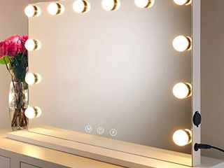 HOMPEN lighted Vanity Mirror with light  lighted Makeup Mirror with lED Dimmable Bulbs  White