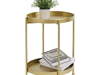 lITA 2 Tier Metal Round End Table Accent Small Side Table Use as Nightstand Coffee Table  Snack Table with Anti Rust Coating Fit for Outdoor   Indoor Sofa Chairs   Gold Dia  15 7