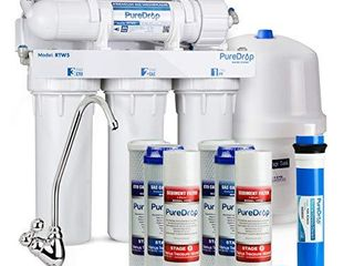PureDrop RTW5 Under Sink 5 Stage Reverse Osmosis Drinking Water Filtration System with Extra Pre Filter Set
