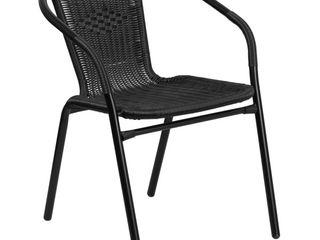 Flash Furniture Rattan Indoor Outdoor Restaurant Stack Chair  Black 4 Pcs