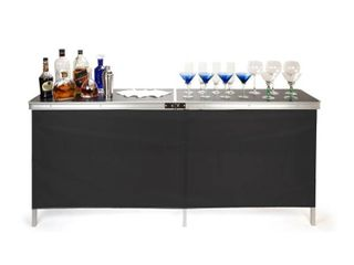 Portable Bar Table   Carrying Case Included   78 l x 15 W x 36 H   By Trademark Innovations  Black Skirts