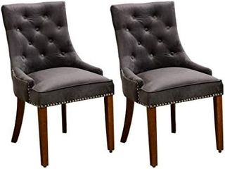 Velvet Dining Chairs Armless Chair with Tufted and Nailheads Accent Side Chairs with Solid Wood Set of 2  Grey
