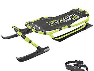Yukon Hammerhead Pro HD Steerable Snow Sled with Aluminum Frame   Green  51  x 22 5