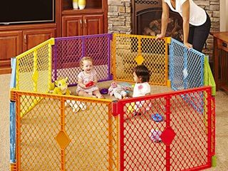 Toddleroo by North States Superyard Colorplay 8 Panel Baby Play Yard  Safe play area anywhere  Folds up with carrying strap for easy travel  Freestanding  34 4 sq  ft  enclosure  26  Tall  Multicolor