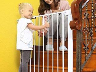 Baby Gates for Stairs and Doorways Dog Gates for The House  30 40 5 inches   Indoor Safety Gates for Kids or Pets with Walk Through Door  Extra Wide Tall Metal Gate Pressure Mount Auto Close
