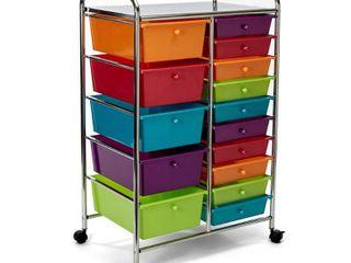 Seville Classics 15 Drawer Steel Organizer Wheeled Cart