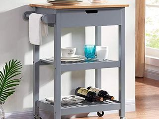 conifferism Kitchen Island Microwave Rolling Cart on Wheels White with Storage for Dining Rooms Kitchens and living Rooms  Gray