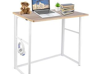 Folding Desk  31 5  No Assembly Small Computer Desk  Foldable Home Office Desk for Small Space Home Office Writing Study  with 10 Hooks