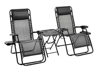 Amazon Basics Zero Gravity Chair with Side Table  Set of 2  Black