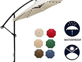 Patio Watcher 10Ft Solar lED Offset Patio Umbrella  Cantilever Patio Hanging Umbrella 360A Rotating Outdoor Market Umbrellas with Cross Base   32 lED lights  White