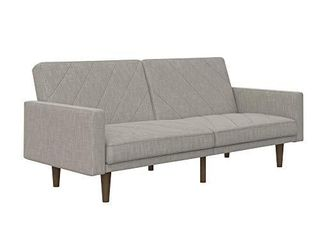 DHP Paxson Convertible Futon Couch Bed with linen Upholstery and Wood legs   light Gray