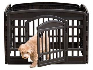 IRIS 24  4 Panel Exercise Pet Playpen with Door  Black