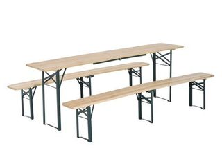Natural Wood Outsunny Wooden Folding Picnic Benches Set of 2