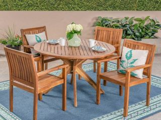 Karen Outdoor Acacia Dining Chairs by CKH Set of 2