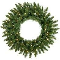 Artificial Wreath   2 Foot 24in holiday spruce wreath with clear lights