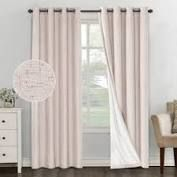 primebeau linen blended waterproof coating themal insulated curtain panels Natural   96 Inches  Retail 79 98
