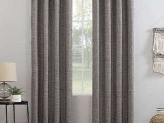 96 x52  Kline Burlap Weave Thermal 100  Blackout Grommet Top Curtain Panels Beige Brown   Sun Zero