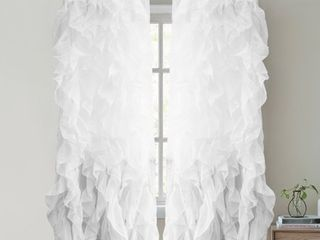 Sweet Home Collection Waterfall Ruffled 63 Inch Single Curtain Panel   63 x50