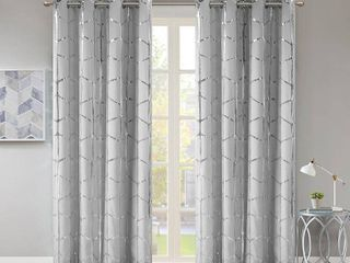 Raina Metallic Print 50  x 63  Total Blackout Curtain Panels