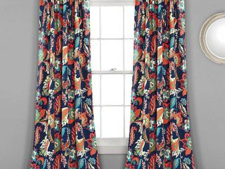 lush Decor Zara Jacobean Room Darkening Window Curtain Panel Pair