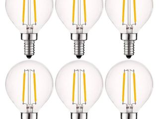 luxrite 4W Vintage G16 5 lED Globe light Bulbs Dimmable  400 lumens  40W Equivalent  Clear Glass  E12 Base  6 Pack