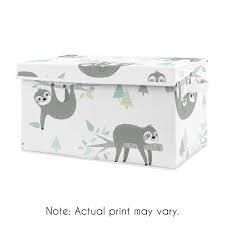 Blue Jungle Sloth Collection Boy or Girl Kids Fabric Toy Bin Storage   Turquoise  Grey and Green Tropical Botanical Rainforest