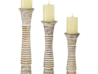 Round White Washed Wood Carved Candle Holders With Textured Pattern Ribbing Set Of 3 12  15  18    5 x 5 x 18