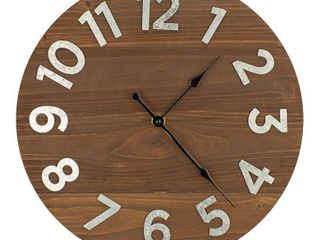 12  Frameless Rustic Walnut Plank Wall Clock with Galvanized Numbers