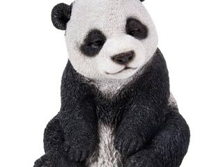 6  Polyresin Sitting Drowsy Panda Outdoor Statue Black White   Hi line Gift